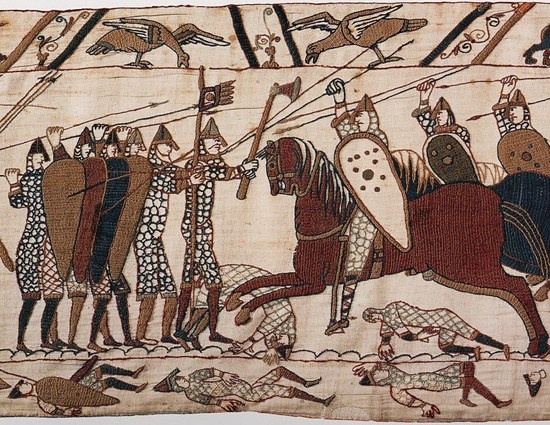 This scene from the Bayeux Tapestry depicts mounted Normans attacking Anglo-Saxon infantry at the Battle of Hastings.