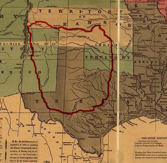 """Comancheria,"" the former territory of the Comanches."