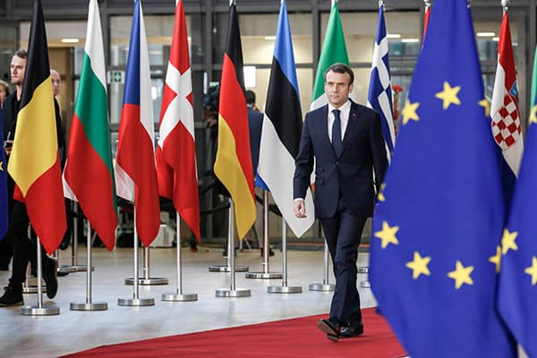 Emmanuel Macron arrives to the Europa Building for the European Council Summit in Brussels on December 13, 2018. (Credit Image: © Dominika Zarzycka/NurPhoto via ZUMA Press)