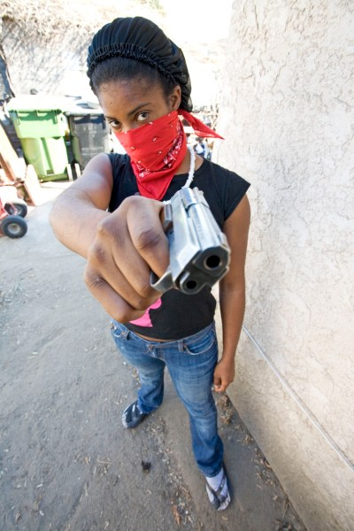 Black Female Gangster with Pistol