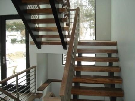14 Modern Stair No Newel Rectangle Handrail Horizontal   Modern Banisters And Handrails   Oak   Minimalist Simple Stair   Modern Style   String   Grey