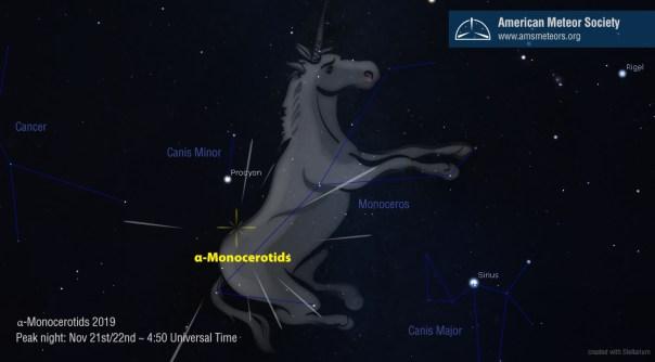 Image result for meteor shower known as the Alpha Monocerotids  Nov. 21 2019
