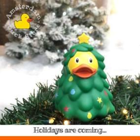 Christmas holidays Damrak Amsterdam Duck Store