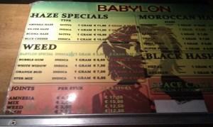 Menu coffeeshop Babylon