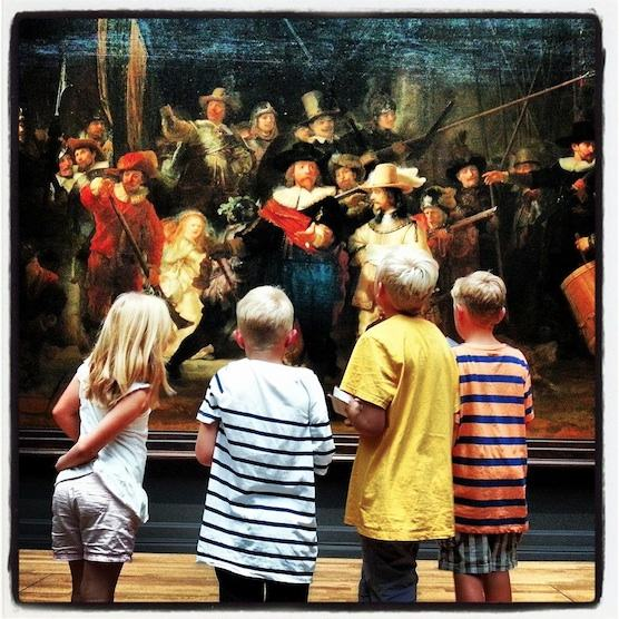 The famous Night Watch painted by Rembrandt van Rijn, is being showed in the Rijksmuseum in Amsterdam.