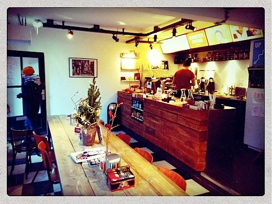 Great coffee, delicious apple pie and good music. Go to coffee shop Quartier Putain in Amsterdam.