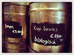 Some coffee jars at Hofje van Wijs. A coffee shop in the Red Light District.