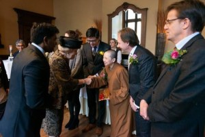 Opening Chinese He Hua Temple by former queen Beatrix in Amsterdam