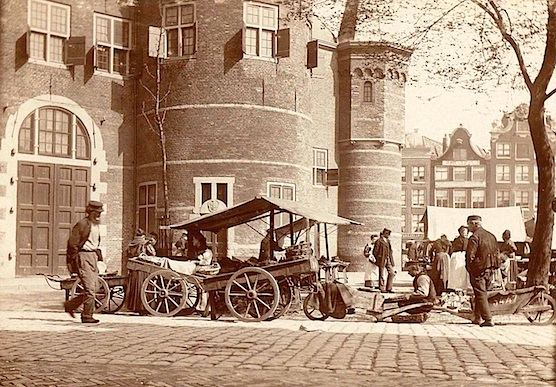 Great historical photo of the Nieuwmarkt and The Waag in Amsterdam.