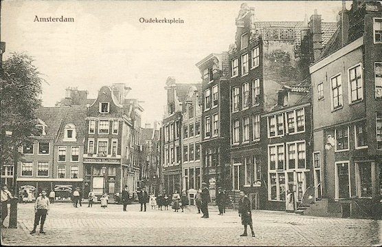 The Old Church Square in Amsterdam around 1900