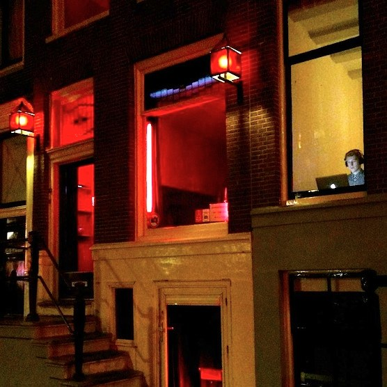Best office ever - Former brothel in Amsterdam Red Light District.