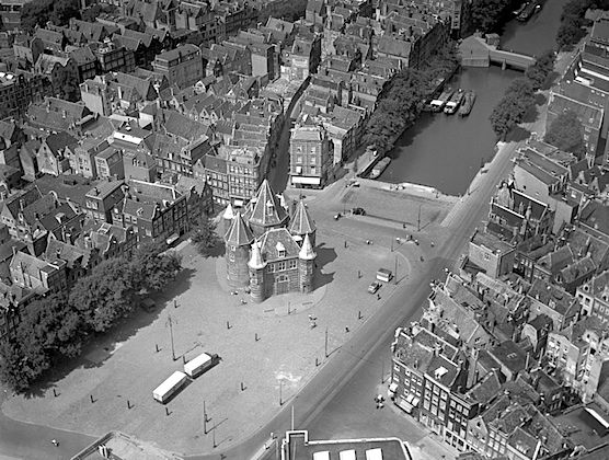 The Waag in Amsterdam from above in the year 1950.