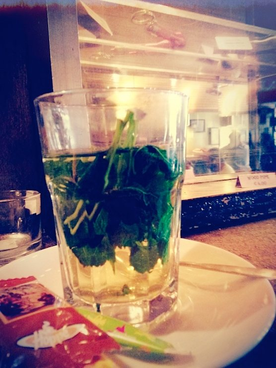 Mint tea in coffee shop Greenhouse Effect in the Red Light District of Amsterdam