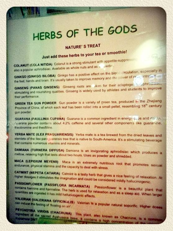Herbs of god at Amsterdam's Green Energy Store.