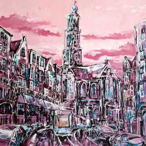 Painting Amsterdam Westertoren for sale.