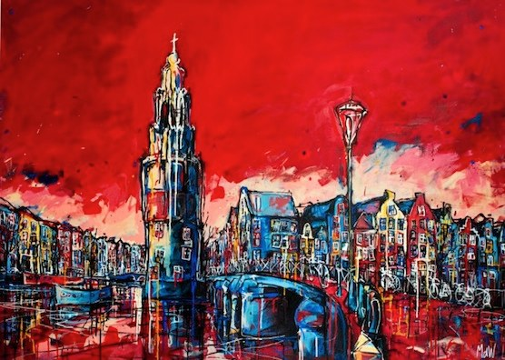 Amsterdam postcards: Awesome artwork of the canals and the Montelbaanstoren.