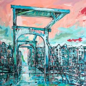 Painting Amsterdam Skinny Bridge for Sale