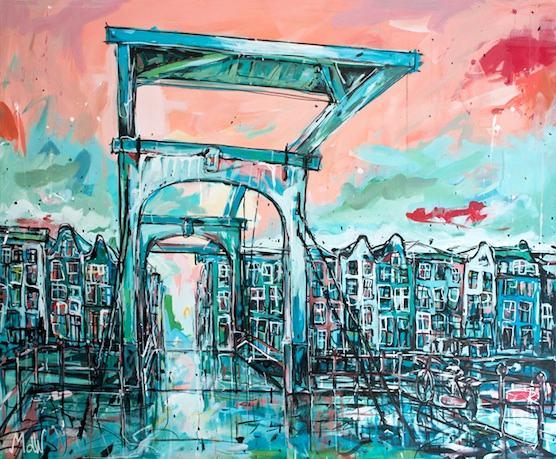 Painting Amsterdam Skinny Bridge for Sale