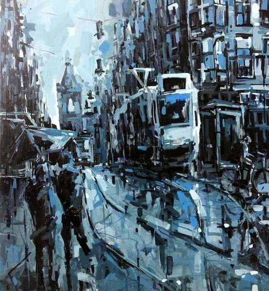 Painting Amsterdam Leidse Square for sale
