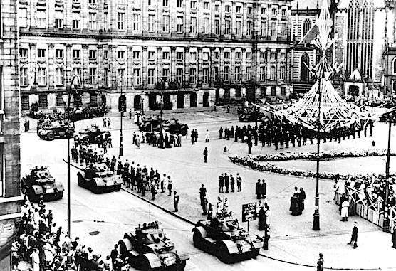 Amsterdam Dam Square on 5th of May 1945.