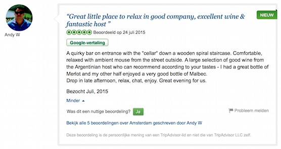 TripAdvisor reviews secret wine cellar Amsterdam