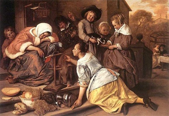 History of Prostitution - Jan Steen - Wine is mocker - 1669