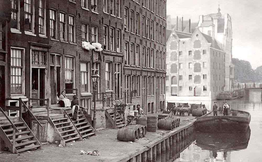 Holland, Amsterdam, year 1916. Beautiful canal houses