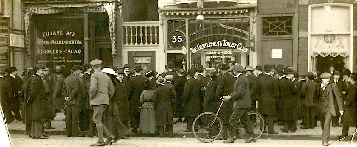Holland, Amsterdam, year 1916. Protest against closure shops.