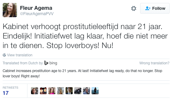 PVV Position on prostitution Holland