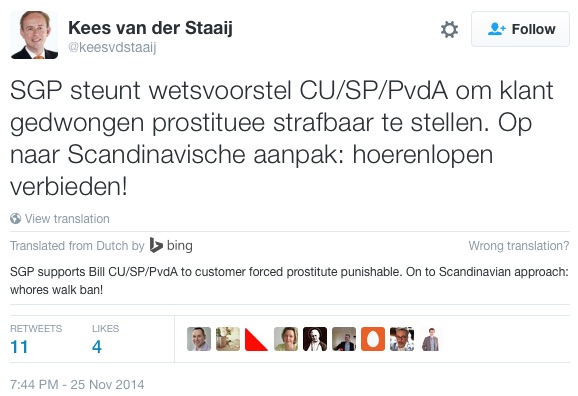 Dutch Party SGP On Prostitution Holland