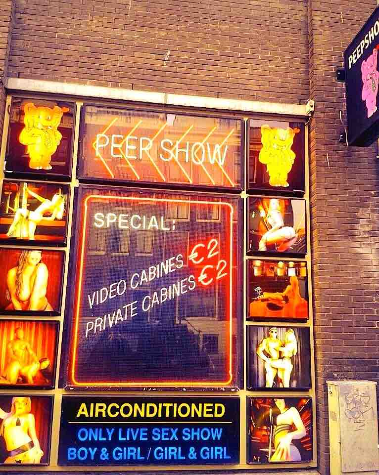 Peep Show in Amsterdam Red Light District