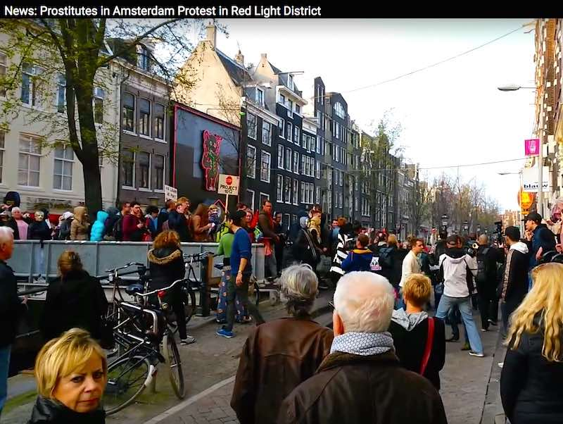 Red Light District brothels with Sex Dolls protest