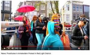 Protests against Red Light District brothels with sex dolls