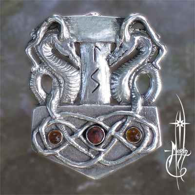 Custom Thor's Hammer with Dragons