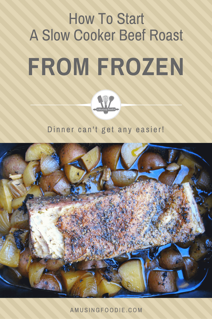 How to start a slow cooker beef roast from frozen. Dinner can't get any easier!