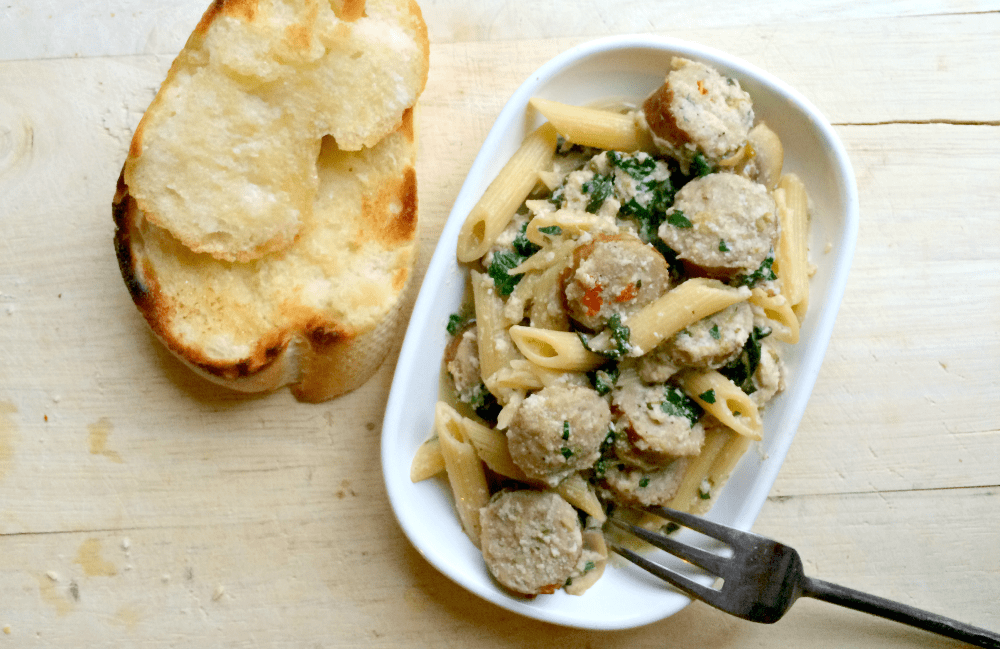 Creamy Penne With Spinach, Mushrooms, And Seared Chicken Sausage