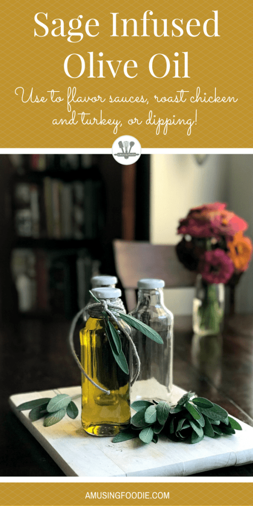 These bottles are perfect for storing sage infused olive oil to flavor sauces, roast chicken and turkey, or just to use for dipping your favorite crusty bread!