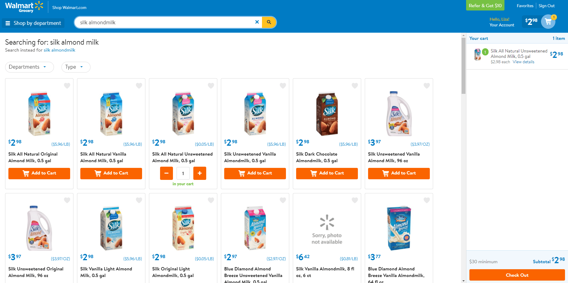 Grocery Pickup online screen at Walmart.