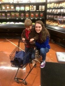 Emily and Corban at the grocery store