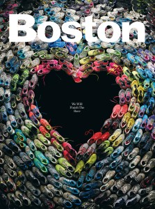 The May 2013 Boston Magazine cover depicting shoes of the marathon runners was sold as a poster to raise funds for the One Fund (http://www.onefundboston.org/).