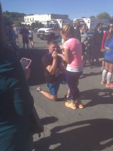 I saw a proposal at the finish line. She said yes.