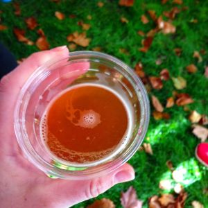 Mmm, beer. And colorful fall leaves.