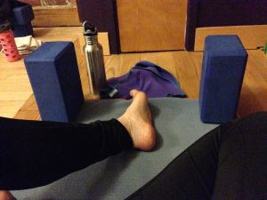 Ommmm. My setup in yoga class. Tight hamstrings means you gotta have those props.