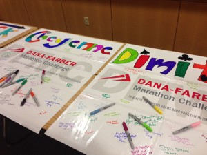 Supporting current Dana-Farber patients at our monthly team meeting. These personalized banners get delivered to patients.
