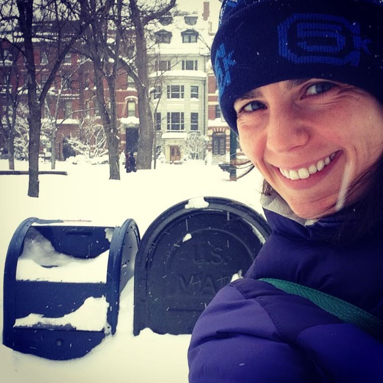 Me in the snow, with USPS mailbox for scale.