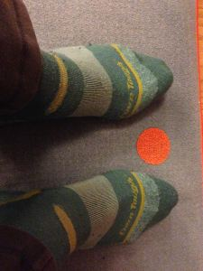 Keeping warm at yoga class with some locally made, cozy socks. I try to live up to the name.