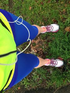 Look! Capri running pants! Green grass instead of gray slush!