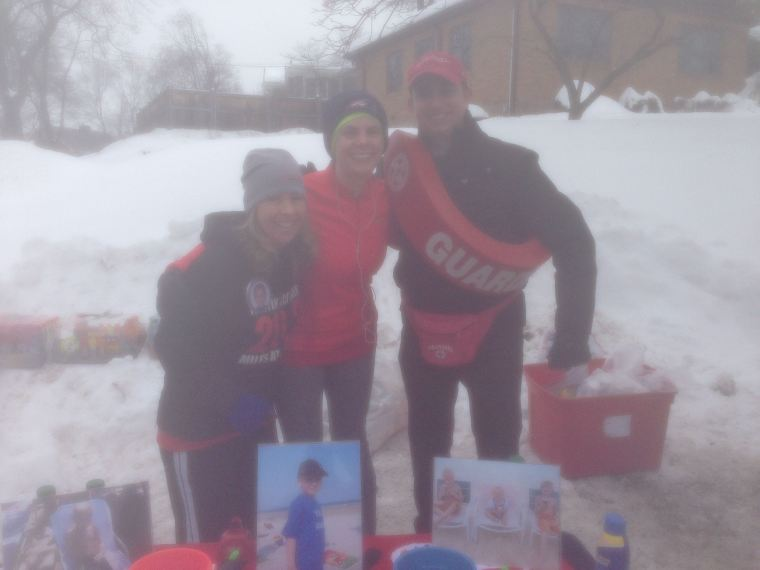 Me and two of the DFMC volunteers manning a water and fuel station in Newton. They are so awesome.