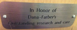 The Jimmy Fund auditorium where we hold team meetings is full of reminders of the people touched by Dana-Farber's work.