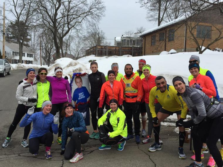 DFMC runners at the furthest water stop. This week's theme: Red Sox. Look, I didn't have to wear a hat!